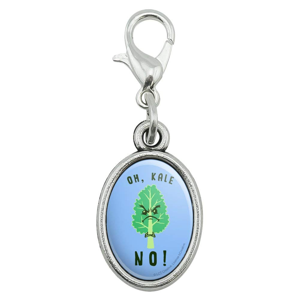 GRAPHICS /& MORE Oh Kale Hell No Funny Humor Antiqued Bracelet Pendant Zipper Pull Oval Charm with Lobster Clasp