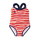 Azul Baby Girls Red White Stripe In The Navy Ruffle One Piece Swimsuit 18M