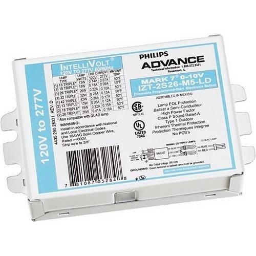 - Philips Advance IZT2S26M5LD35M (2) 26 Watt CFQ26W/G24Q Lamp Electronic Dimmable Fluorescent Ballast 120 - 277 Volt Mark