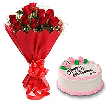 Floral Fantasy Cake And Fresh Flowers Bouquet Of 10 Red Roses Bunch For Birthday Anniversary Friendship Day Best Wishes Amazonin Garden Outdoors