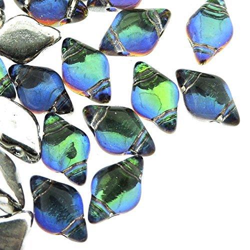 Czech Glass GemDuo Beads, 2-Hole Diamond Shaped Beads 5x8mm, 10 Grams, Backlit Petroleum
