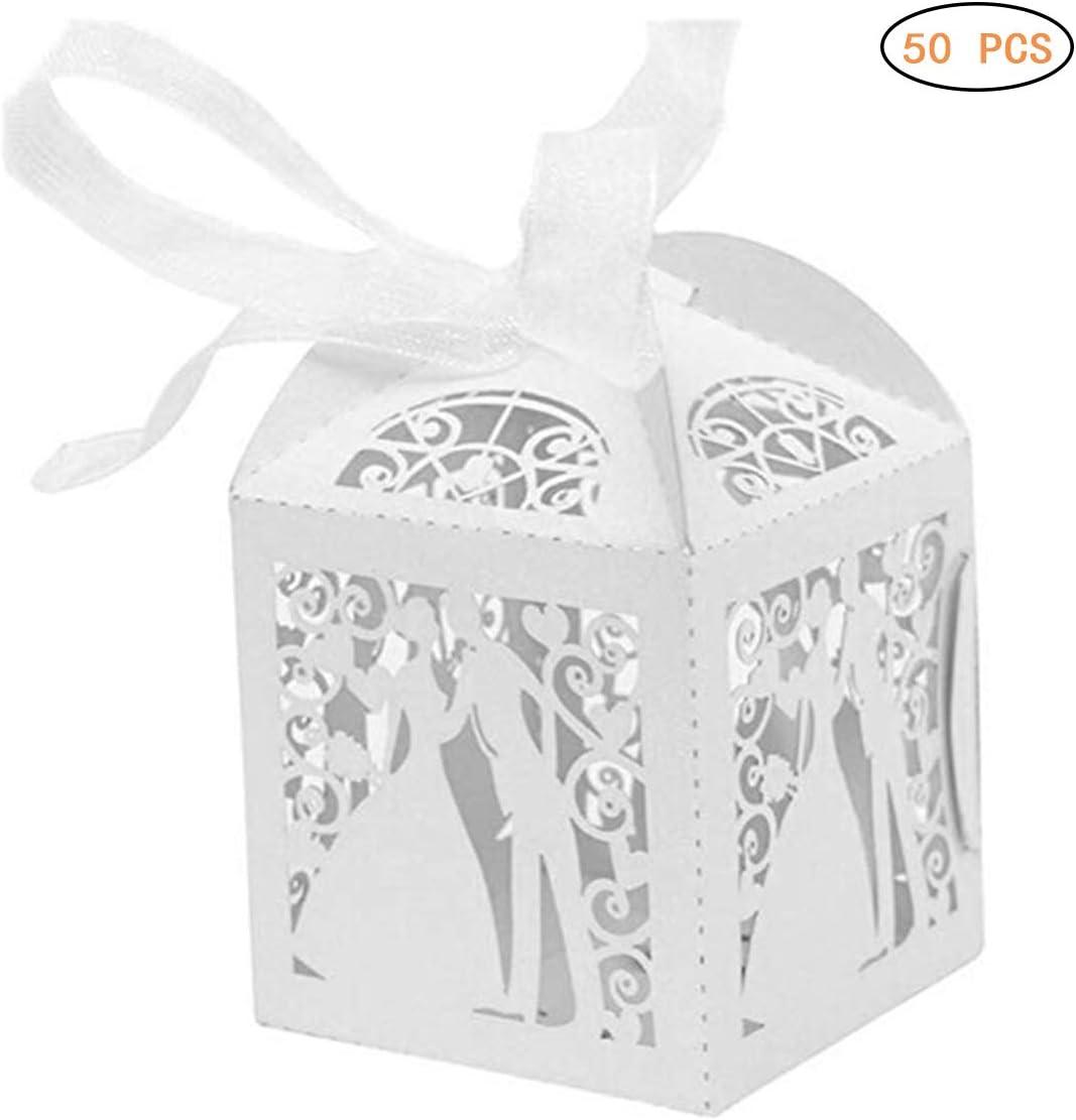 Mallalah 50PCS Caja blanca de dulces Caja de tarjetas de visita para el favor de la boda para el compromiso del banquete de boda de aniversario: Amazon.es: Hogar