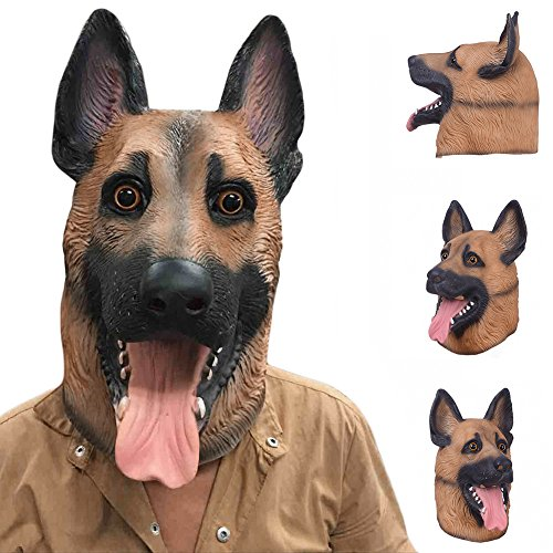 Mask Full Face Dog Head Latex Adult Halloween Fancy Party Cosplay Costume Lovely Animal - Clean How Goggles To