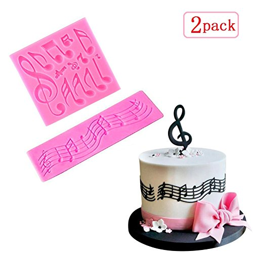 Sakolla(Set of 2)Multi Music Note Lace Silicone Mold Fon