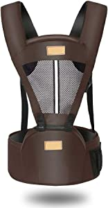 DUOUH Baby Carrier with Hip Seat Removable Multifunctional Waist Support Stool Strap Backpacks,Brown