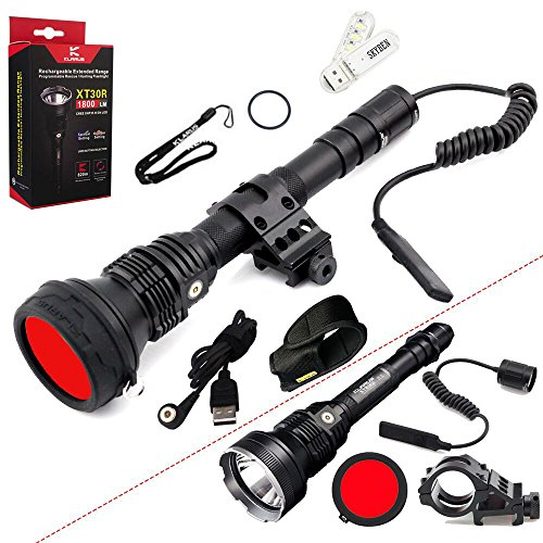 SKYBEN Klarus XT30R Hunting Kit CREE XHP35 HI D4 LED 1800 Lumens 18650 Rechargeable Hunting Flashlight with Built-in Battery,Rail Mount,Dual Remote Switch,Red Filter,USB Cable,Holster USB Light