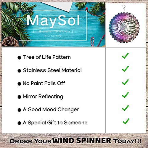 Wind Spinners-Hanging Wind Spinner for Yard and Garden,Outdoors Metal Wind Kinetic Sculpture Art Decorations,Yard Hanging Spinners Garden Ornaments Wind Catcher Chime-Tree of Life 3D Windspinner 10