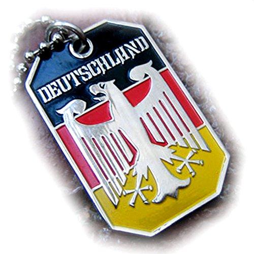 - GERMANY EAGLE GERMAN FLAG DEUTSCHLAND PENDANT BUNDESADLER DOG TAG BALL CHAIN NECKLACE