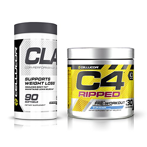 Advanced Cla Supplement Formula - Cellucor C4 Ripped Explosive Pre-Workout Supplement and Cutting Formula, Icy Blue Razz, 30 Servings + Cellucor CLA Weight Loss Supplement, 90 Softgels