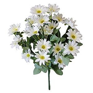 Connoworld--1 Bouquet Artificial Plant Plastic Daisy Flower Home Hotel Shop Fence Decoration - White 1
