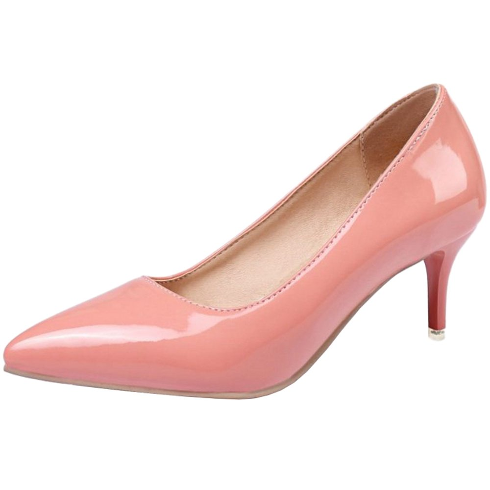 Smilice Women Plus Size US 0-13 Mid Heel Pointy Toe New Dress Pumps 6 Colors Available New B074RG18X9 40 EU = US 9 =25 CM|Pink