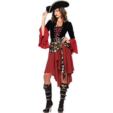 VingDy Pirate Costume Adult Womens Sexy Swashbuckler Girl Halloween Cosplay Fancy Dress Sexy Pirate Dress Queen  sc 1 st  Amazon UK & VingDy Pirate Costume Adult Womens Sexy Swashbuckler Girl Halloween ...