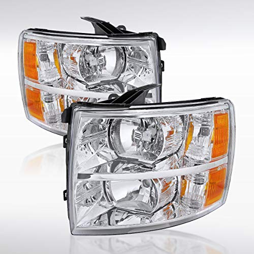 Autozensation For Chevy Silverado 1500/2500/3500 Pick Up Truck HD Crystal Chrome Headlights ()
