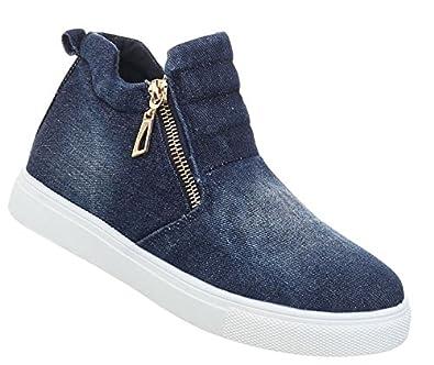 Damen Schuhe Freizeitschuhe Sneakers Slipper Zipper Jeans High Top Stiefelette