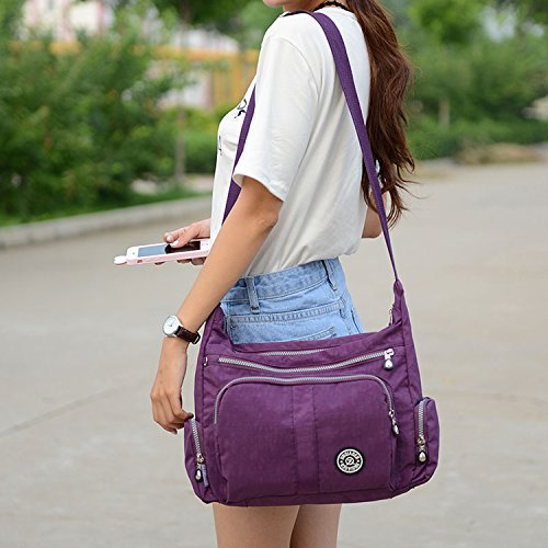 Shoulder Sport College Cross Waterproof Casual Travel Messenger Foino Body Bookbag Bag For Beige Women Lightweight Side xw0nqzB6