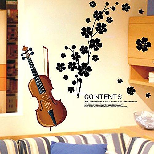 EverTrust(TM)Beautiful Violin Flowers Removable Wall Sticke Art Decals