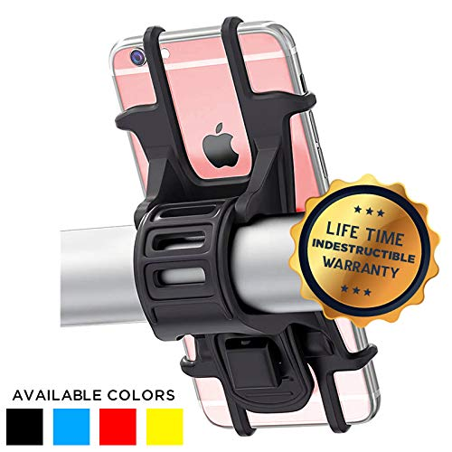 Universal Bike Phone Holder, Bicycle Handlebar Stroller Scooter Cell Phone Mount for iPhone 8 7 6S Plus 5 SE Samsung Galaxy S8 S7 Note 6, 4 to 6 Inch - Black (With Stroller Scooter)