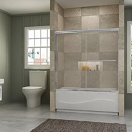 Frameless Bypass Sliding Bathtub Doors 56u0026quot; - 60u0026quot & SUNNY SHOWER Model# B020. Frameless Bypass Sliding Bathtub Doors 56 ...