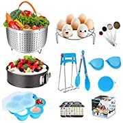 16 Pieces Instant Pot Accessories Set Compatible with Instant Pot Electric Pressure Cooker 6,8 Qt - Steamer Basket, Springform Pan, Egg Rack, Egg Bites Mold, Measuring Spoon, Magnetic Cheat Sheet