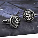 Three Keys Jewelry Steampunk Mens Cufflinks Vintage Recycled Watch Movement Silver Black Cufflink for Men