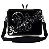Neoprene Laptop Sleeve Bag with Hidden Handle & Adjustable Shoulder Strap for 17 17.3 inch Notebook – White Swirl Design Review