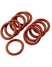 uxcell Silicone O-Ring, 22mm OD, 16mm ID, 3mm Width, VMQ Seal Rings Gasket, Red, Pack of 10