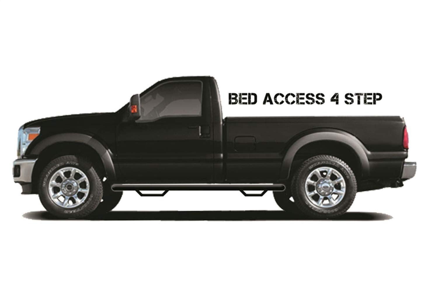 N-FAB C88100XC-4-TX Textured Black Nerf Step; Bed Access Chevy-GMC 1500 2500 Extended Cab 2 Door 8 Long Bed 88-98