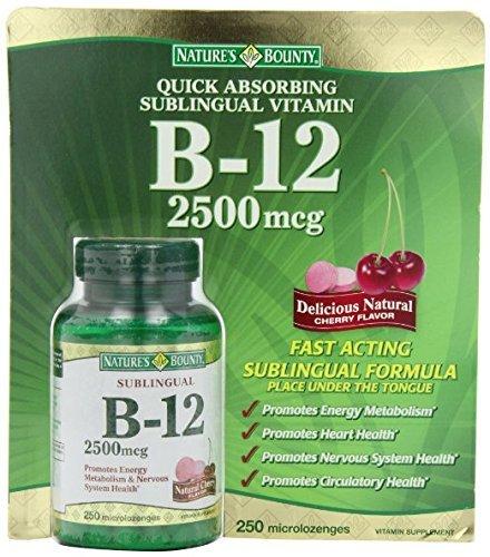 Nature's Bounty Sublingual Vitamin B12 - 2 Bottles, 250 Cherry Micro-Lozenges Each