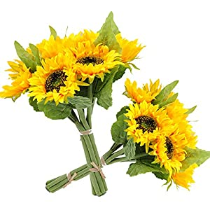 cn-Knight Artificial Sunflowes Real-Touch Silk Flowers for Wedding Bridal Bouquet Bridesmaid Groomsman Corsages Boutonniere Home Décor Office Baby Shower Party Centerpieces,2 in Pack 4