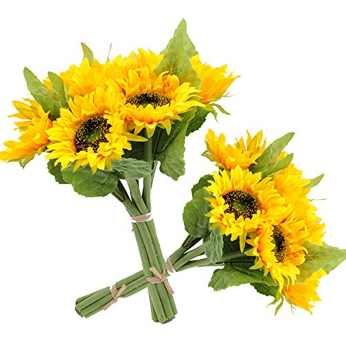 cn-Knight 7pcs Artificial Sunflowes Real-Touch Silk Flowers for Wedding Bridal Bouquet Bridesmaid Groomsman Corsages Boutonniere Home Décor Office Baby Shower Party Centerpieces,2 in Pack