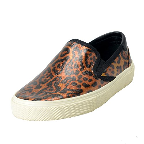 Saint-Laurent-Paris-Womens-Animal-Print-Slip-On-Loafers-Shoes-US-85-IT-395