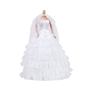 Vestido De Novia Vestido De Velo Para Muñecas - Blanco