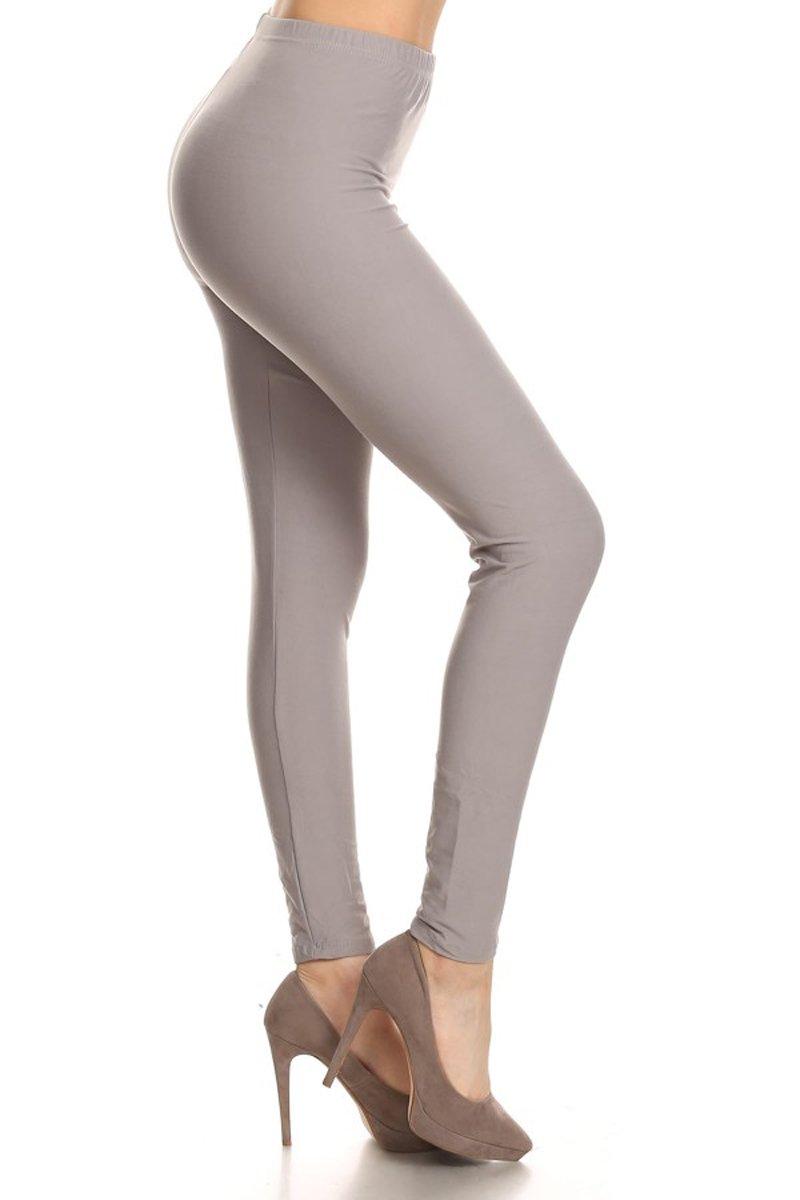 Leggings Depot Ultra Soft Basic Solid Plain Best Seller Leggings Pants (Plus Size (Size 12-24), Light Gray)