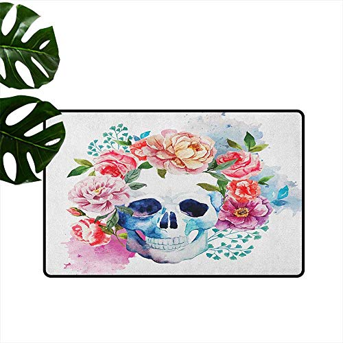 Skull Entrance Door mat Funny Skull with Colorful