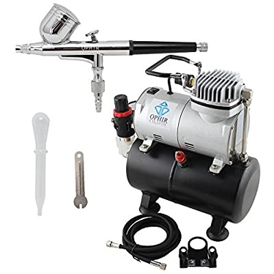 OPHIR Pro Dual Action Airbrush Air Tank Compressor Kit T-shirt Painting Tanning Hobby