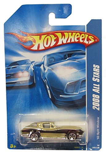 VETTE Stingray Hot Wheels 2008 All Stars Series Gold '63 Chevy Corvette Stingray Split Window w/ 5SPs 1:64 Scale Collectible Die Cast Metal Toy Car Model No.45
