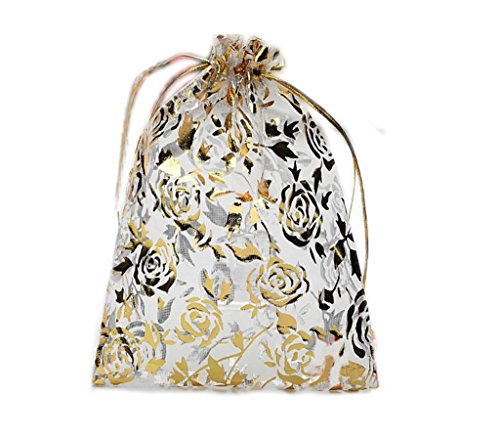 (Riverer 100 pcs Gold Roses Pattern Organza Gift Bags, 13x18cm (5.1x7.1 Inches))