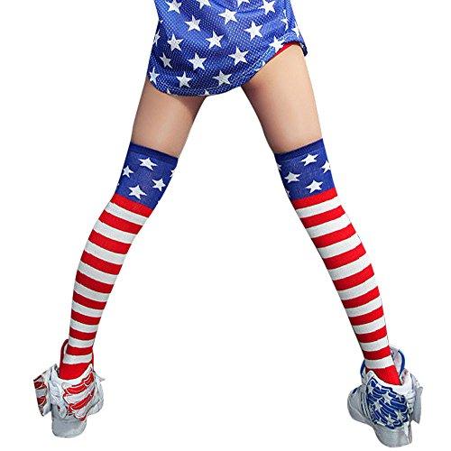 Knee High Socks, MML Women Flag Cable Knit Over Knee Long Boot Thigh-High Warm Socks Leggings Red