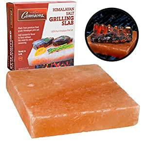 """Himalayan Salt Slab Block for BBQ Grilling (Large 8"""" x 8"""") - FDA Approved All Natural Barbeque Cooking"""