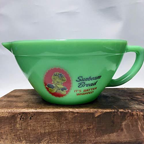 Jade Glass SUNBEAM BATTER BOWL - Decorative Vintage Style Kitchen Decor - Jadeite -
