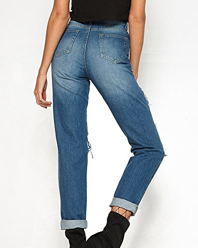 Stretch Scuro Jeans Blu Pantaloni Donna Strappato ZhuiKun Boyfriend Fishnet Con Denim Matita PqXwaxAWHx