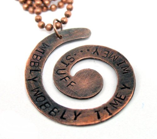 Wibbly Wobbly Timey Wimey Spiral Necklace - Hand Stamped Doctor Who Copper Jewelry