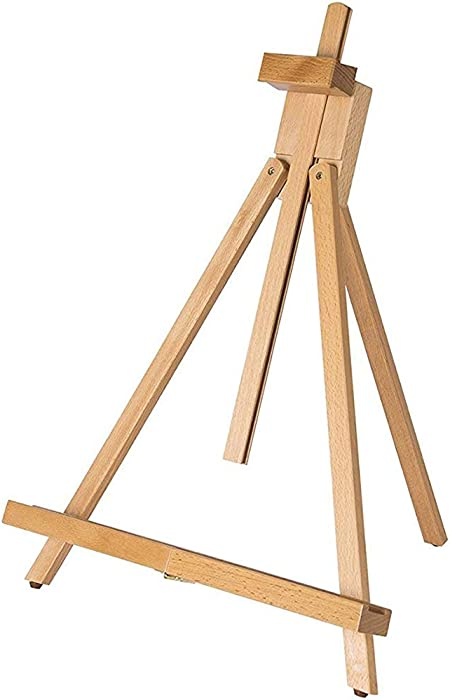 """conda 31-1/2 inch A-Frame Easel, Adjustable Beechwood Tripod Display Stand, Holds Up to 27"""" Canvas, Portable Table Desktop Painting Picture Holder"""