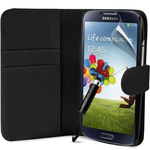 Generic Buchstil Klapp Lederoptik Etui Flip Hülle für Samsung Galaxy S4 I9500 mit Mini Eingabestift