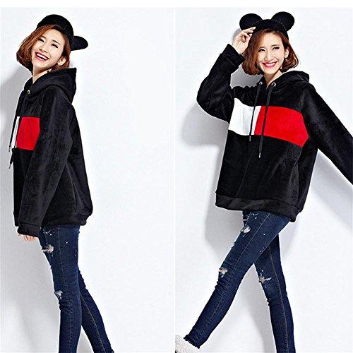 Nuan Jia Feng Nueva cobertura de invierno de color hechizo suelta suéter con capucha y largas secciones capa más gruesa chaqueta de ante , green , average Black