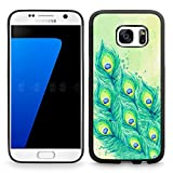 DOO UC(TM) Galaxy S7 Case, Laser Technology for Protective Case for Samsung Galaxy S7 Black Watercolor painting beautiful peacock tail feathers