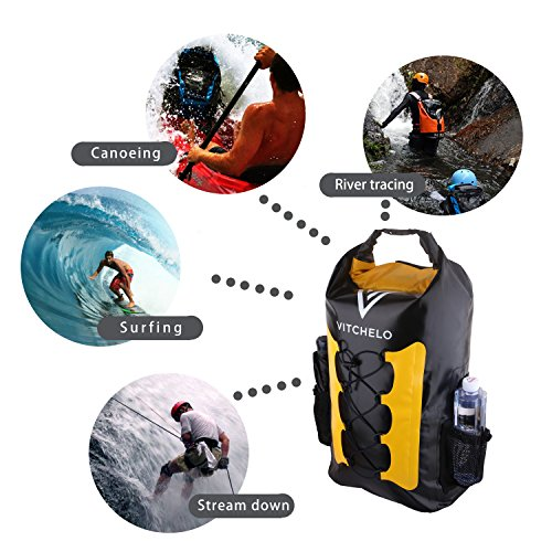 Vitchelo 30L Waterproof Dry Bag Backpack for Outdoor Water Sports Kayaking Camping - Fly Fishing & Boating Gifts for Men - 100% Tear-Free, Lifetime Kayak Storage Bag - Free Waterproof Phone Pouch by Vitchelo (Image #4)