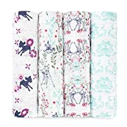 aden + anais Disney, Swaddle Blanket | Boutique Muslin Blankets for Girls & Boys | Baby Receiving Swaddles | Ideal Newborn & Infant Swaddling Set | Perfect Shower Gifts, 4 Pack Bambi