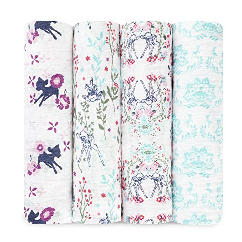 aden + anais Disney Classic Swaddle Baby Blanket, 100% Cotton Muslin, Large 47 X 47 inch, 4 Pack, Bambi -