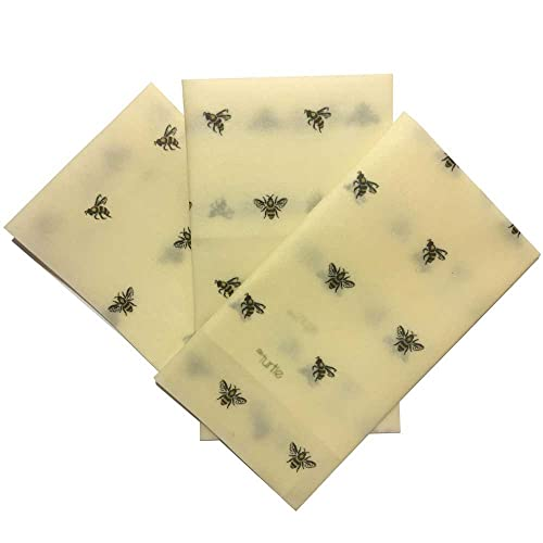 Cling Cloth Beeswax Food Wrap - Variety Pack - All Natural Reusable Food Wrap Made In the UK - 3 wraps - small, medium and large